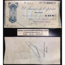BILBAO 100 PESETAS 1936 CAJA DE AHORROS VIZCAINA 094732 EUZKADI