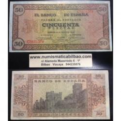 ESPAÑA 50 PESETAS 1938 CASTILLO de OLITE Serie C 5651378 Pick 112 BILLETE MBC+ @RARO - DOBLECES@