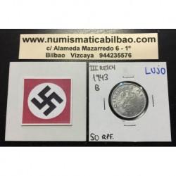 DRITTES REICH 50 REICHSPFENNIG 1943 B SWASTICA NAZI XF+