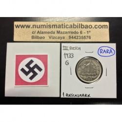ALEMANIA 1 MARCO 1933 G AGUILA NAZI III REICH MONEDA DE NICKEL REICHSMARK SC-