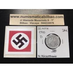 ALEMANIA 50 REICHSPFENNIG 1940 D ESVASTICA NAZI III REICH