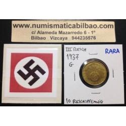 GERMANY DRITTES REICH 10 REICHSPFENNIG 1937 G BRASS RARE