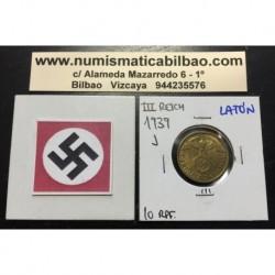 ALEMANIA 10 REICHSPFENNIG 1939 J ESVASTICA NAZI LATON EBC 1