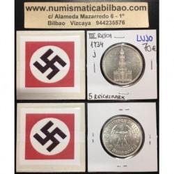 ALEMANIA 5 MARCOS 1934 J IGLESIA DE POSTDAM MONEDA NAZI DE PLATA DEL III REICH @LUJO@ 5 Reichsmark