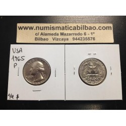 USA 1/4 DOLLAR 1965 P WASHINGTON NICKEL AUNC QUARTER