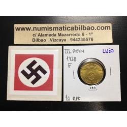 ALEMANIA 10 REICHSPFENNIG 1938 F ESVASTICA NAZI LATON SC- 1