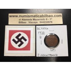 ALEMANIA 2 REICHSPFENNIG 1938 B ESVASTICA NAZI III REICH MONEDA DE COBRE @RARA@ 1