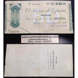 BILBAO 50 PESETAS 1936 BANCO DE BILBAO 263991 @RARO@ BILLETE TALON GOBIERNO VASCO EN EUSKADI