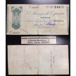 BILBAO 50 PESETAS 1936 CAJA DE AHORROS VIZCAINA 294957 EUZKADI