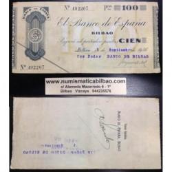 BILBAO 100 PESETAS 1936 BANCO DE BILBAO 492207 EUZKADI EUSKADI