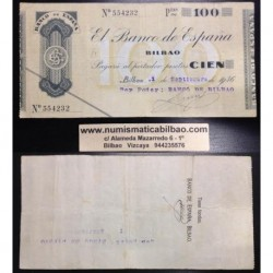 BILBAO 100 PESETAS 1936 BANCO DE BILBAO SIN SERIE 554232 Pick S555 GOBIERNO DE EUSKADI BILLETE / TALON LOCAL GUERRA CIVIL