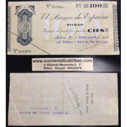 BILBAO 100 PESETAS 1936 BANCO DE BILBAO SIN SERIE 551936 Pick S555 GOBIERNO DE EUSKADI BILLETE / TALON LOCAL GUERRA CIVIL