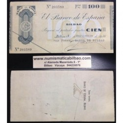 BILBAO 100 PESETAS 1936 BANCO DE BILBAO SIN SERIE 203589 Pick S555 GOBIERNO DE EUSKADI BILLETE / TALON LOCAL GUERRA CIVIL