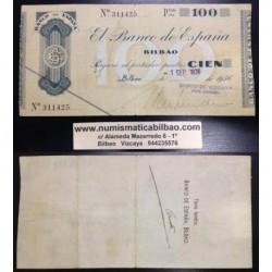 BILBAO 100 PESETAS 1936 BANCO DE VIZCAYA 311425 EUZKADI LUJO