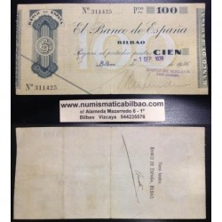 BILBAO 100 PESETAS 1936 BANCO DE VIZCAYA SIN SERIE 311425 Pick S.555 GOBIERNO DE EUSKADI BILLETE LOCAL GUERRA CIVIL