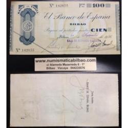 BILBAO 100 PESETAS 1936 CAJA DE AHORROS VIZCAINA 142655 EUZKADI