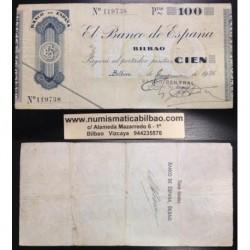 BILBAO 100 PESETAS 1936 BANCO CENTRAL 119738 EUZKADI @RARO@
