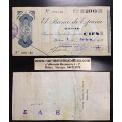 BILBAO 100 PESETAS 1936 CAJA DE AHORROS y MONTE DE PIEDAD 008746