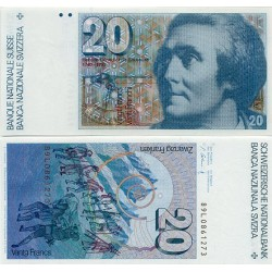 . SUIZA 20 FRANCOS 1978 SAUSSURE SC SWITZERLAND FRANCS BILLETE