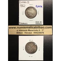 ..ISABEL II 4 REALES 1862 MADRID PLATA EBC- ESPAÑA Spain Silver