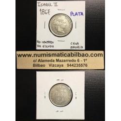 ..ISABEL II 40 CENTIMOS DE ESCUDO 1867 MADRID PLATA Spain Silver