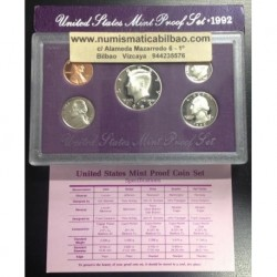 1992 UNITED STATES MINT PROOF SET ESTADOS UNIDOS 1+5+10+25 CENTAVOS 1/2 DOLAR 1992 KENNEDY NICKEL