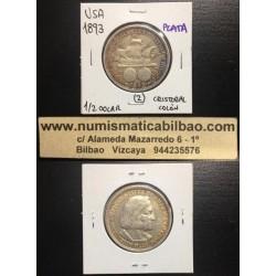 ESTADOS UNIDOS 1/2 DOLAR 1893 COLUMBIAN EXPOSITION CRISTOBAL COLON y CARABELA KM.117 MONEDA DE PLATA MBC++ USA Half Dollar 2