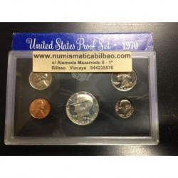1970 UNITED STATES MINT PROOF SET ESTADOS UNIDOS 1+5+10+25 CENTAVOS 1/2 DOLAR 1970 KENNEDY NICKEL
