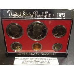 1973 UNITED STATES MINT PROOF SET ESTADOS UNIDOS 1+5+10+25 CENTAVOS + 1/2 DOLAR + 1 DOLAR 1973 NICKEL