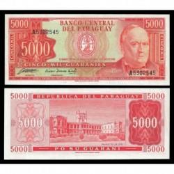 PARAGUAY 5000 GUARANIES 1952 DON CARLOS ANTONIO LOPEZ Pick 208 BILLETE SC @RARO@ UNC BANKNOTE