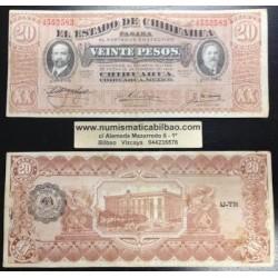 @OFERTA@ MEXICO 20 PESOS 1914 ESTADO DE CHIHUAHUA REVOLUCION Pick S537 BILLETE EBC- Mejico banknote