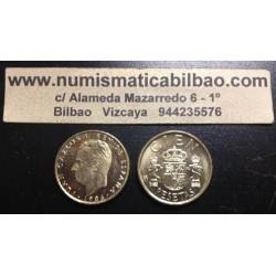 ESPAÑA 100 PESETAS 1986 M JUAN CARLOS I LIS ARRIBA HACIA EL REY KM.826 MONEDA DE LATON SC SIN CIRCULAR
