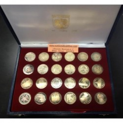 . AUSTRIA 24x 100 SCHILLINGS 1974/1979 PLATA SILVER SET PROOF
