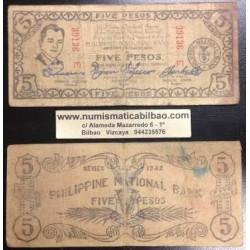 @OFERTA@ FILIPINAS 5 PESOS 1942 GUERRILLA MISAMIS 2ª GUERRA MUNDIAL Pick S.578 Philippines WWII BANKNOTE