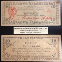 . FILIPINAS MINDANAO 10 PESOS 1943 GUERRILLA WWII Pick S508