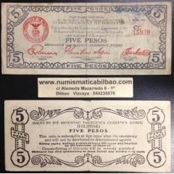. FILIPINAS MINDANAO 5 PESOS 1943 GUERRILLA WWII Pick S517