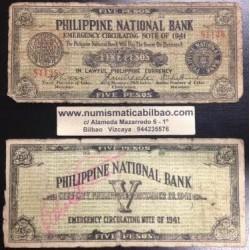 . FILIPINAS CEBU 5 PESOS 1941 GUERRILLA WWII Pick S219