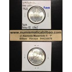VATICANO 500 LIRAS 1968 PAPA PABLO VI FAO PLATA SC FAO Silver