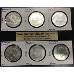 . ALEMANIA 10€ EUROS 2010 A+D+F+G+J+No Ceca PLATA SC SILVER