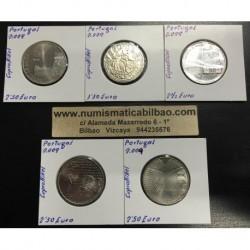 . PORTUGAL 2009 Juego 5 Monedas NICKEL 1,50 + 2,50 EUROS SC