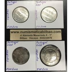 . PORTUGAL 2011 Juego 4 Monedas NICKEL 2,50+7,50 EUROS SC