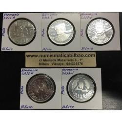 . ALEMANIA 10€ EUROS 2013 A+D+F+G+J PLATA PROOF SILVER BRD