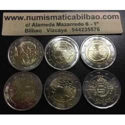 . 2 EUROS 2005+2007+2009 FINLANDIA GRECIA ITALIA... SC 6 monedas
