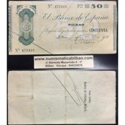 BILBAO 50 PESETAS 1936 BANCO DE BILBAO 473410 @RARO@ BILLETE TALON GOBIERNO VASCO EN EUSKADI