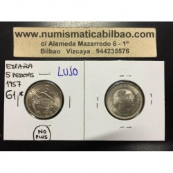 ESPAÑA 5 PESETAS 1957 * 61 FRANCO ESTADO ESPAÑOL MONEDA DE NICKEL SIN CIRCULAR NO PLUS