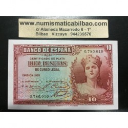 ESPAÑA 10 PESETAS 1935 DAMA Sin Serie 6786019 Pick 86 BILLETE SIN CIRCULAR II REPUBLICA ESPAÑOLA