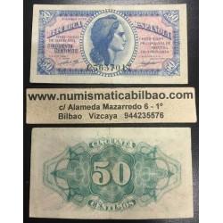 ESPAÑA 50 CENTIMOS 1937 REPUBLICA ESPAÑOLA DAMA Serie C Pick 93 BILLETE MBC+ @RARO@ Spain banknote