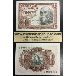 ESPAÑA 1 PESETA 1953 MARQUES DE SANTA CRUZ Serie R Pick 144 BILLETE PLANCHA SIN CIRCULAR Spain banknote