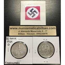 ALEMANIA 5 MARCOS 1934 G IGLESIA DE POSTDAM MONEDA NAZI DE PLATA DEL III REICH 5 Reichsmark