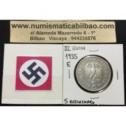 ALEMANIA 5 MARCOS 1935 E CANCILLER HINDENBURG AGUILA SIN ESVASTICA NAZI III REICH MONEDA DE PLATA REICHSMARK